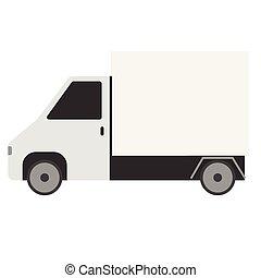 White truck flat illustration on white