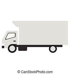 White truck flat illustration on white