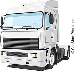White truck - Vector isolated white truck on white...
