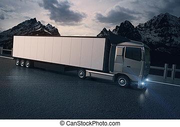 White truck on landscape background