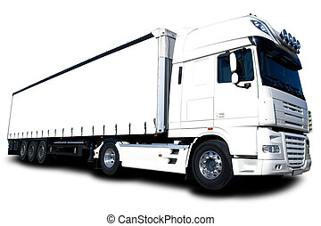 White Truck - Semi trailer truck isolated on white