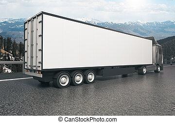 White truck trailer closeup