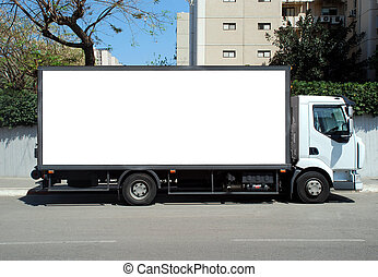 White Truck with Blank panel  - Blank white sign on a truck