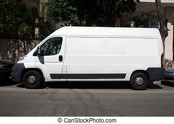 White Truck with Blank panel - A Blank white Sign on a white...