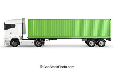 White truck with green blank freight container on a chassis isolated
