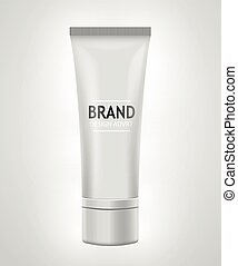 White tube mock-up for cream, tooth paste, gel, toner. Cosmetic concept.
