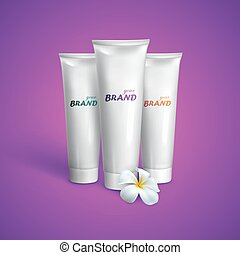 White tubes mock-up for cream, tooth paste or gel with...