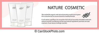 White tubes of cream natural cosmetics - Vector illustration