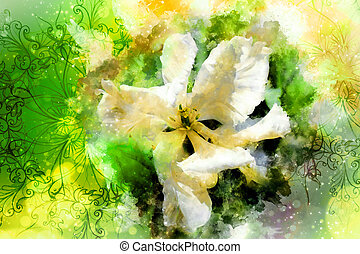 White tulips and ornaments and softly blurred watercolor background.