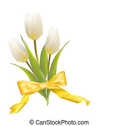 White tulips on a card for birthday