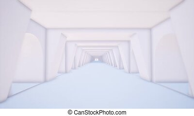 White tunnel in 3d style on light background. Abstract light corridor. Space tunnel. 3d render.
