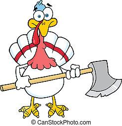 White Turkey With Ax