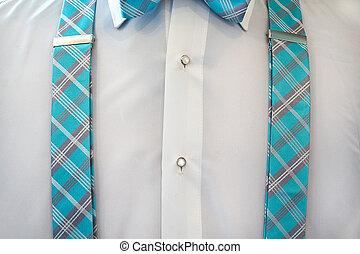 white tuxedo shirt with suspenders