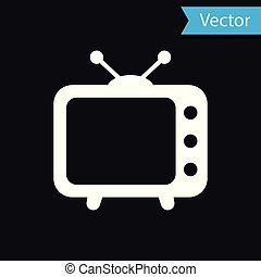 White Tv icon isolated on black background. Television sign. Vector Illustration