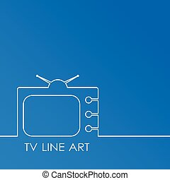 White TV on blue background, abstract line art vector illustration.  concept