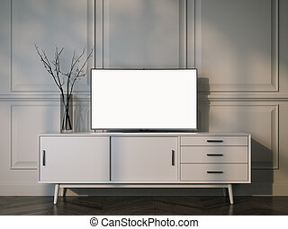White tv stand with flat LCD television. 3d rendering