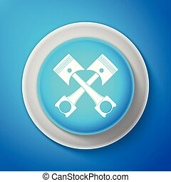 White Two crossed engine pistons icon isolated on blue background. Circle blue button with white line. Vector Illustration