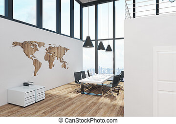 White two story office interior with panoramic window view,...