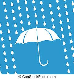 white umbrella and rain drops on a