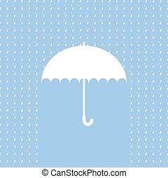 White umbrella symbol on blue background. Background with rain pattern. Label design
