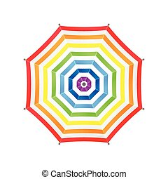 White Umbrella With Rainbow Stripes. Top View. Template For Your Design. Isolated On White Background. Vector