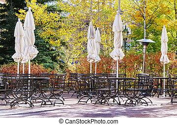White Umbrellas Group on the Patio