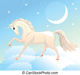 white unicorn is on the clouds in the sky with the moon and...
