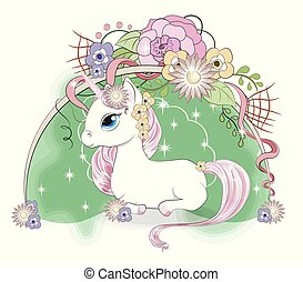 white unicorn in flower
