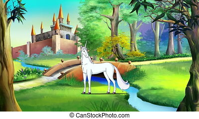White Unicorn Walking near a Fairy Tale Castle in a Summer Day. Handmade animation, 4K motion graphic.
