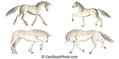 White Unicorn Pack - Illustration of a pack of four (4) ...