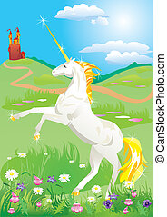 White unicorn rearing up on its hind legs on beautiful meadow with wild flowers