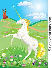 White unicorn rearing up