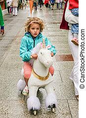 White Unicorn Riding