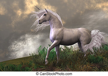 Clouds and mist surround a beautiful unicorn stallion with a white coat.