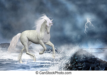 white unicorn - a white Unicorn wading in the water
