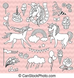 White unicorns with a black outline on  pink background  waves.
