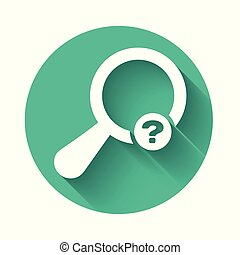 White Unknown search icon isolated with long shadow. Magnifying glass and question mark. Green circle button. Vector Illustration