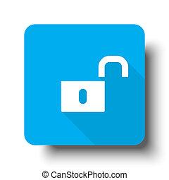 White Unlock icon on blue web button