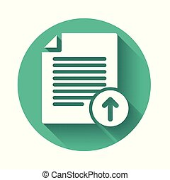 White Upload file icon isolated with long shadow. File document symbol. Document arrow. Green circle button. Vector Illustration