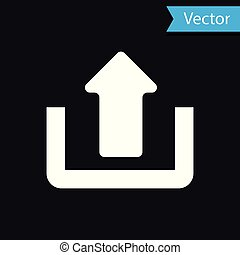 White Upload icon isolated on black background. Up arrow. Vector Illustration
