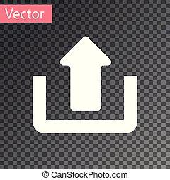 White Upload icon isolated on transparent background. Up arrow. Vector Illustration
