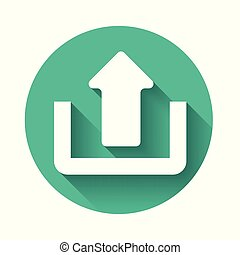 White Upload icon isolated with long shadow. Up arrow. Green circle button. Vector Illustration