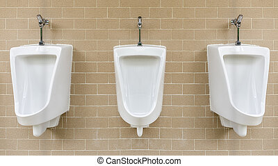 White urinals install on wall.