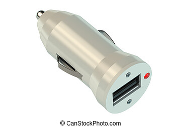 white usb car charger isolated on white background