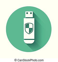 White USB flash drive and protection shield icon isolated with long shadow. Green circle button. Vector Illustration
