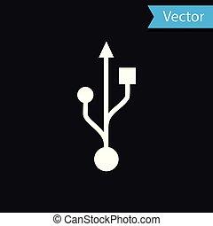 White USB symbol icon isolated on black background. Vector Illustration