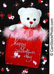 valentine bear in red sack