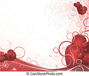 White valentines background with hearts, pattern, ornament...