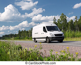 white van on summer highway Scandinavia