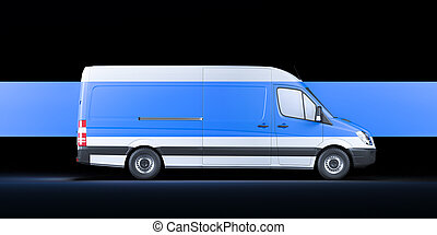 White Van With Blank Blue Stripe Isolated On Black Background. Fast Delivery In Quarantine Time. 3D Rendering